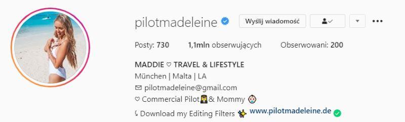biogram na Instagramie
